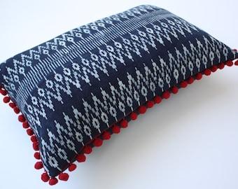 """12"""" x 18"""" Hmong Tribal Indigo Batik Cotton Lumbar Pillow with insert , Indigo Batik Pillow with Insert, Indigo Batik Pompoms Pillow /17.1"""