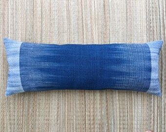 """14"""" x 36"""" Unique Hand Spun Ikat Natural Indigo Plant Dyed Cotton Lumbar Pillow Cover /17013"""