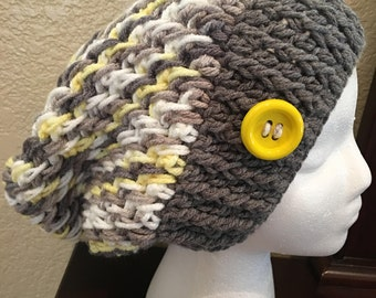 Grey and Yellow Slouchy Hat