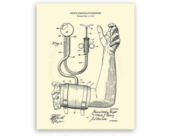 Blood Pressure cuff Patent art print #3 cream colored art print - medical student graduation gift- gift for nurse - doctor's office decor