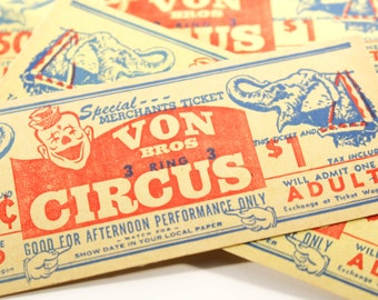 Vintage Circus Tickets Elephant Clown Adult Child Von Brothers Carnival Smash Book Junk Journal Paper Supplies