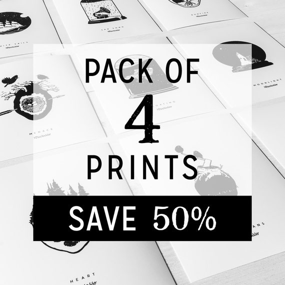Pack of 4 Prints Posters - Worldwide Free Shipping...