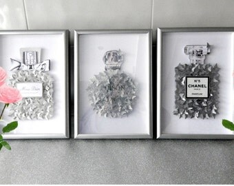 Glitter pictures, Chanel no 5, Miss Dior or Poison.Silver perfume bottle pictures,unique,bathroom,bedroom,daughter,Poison Dior,Miss Dior