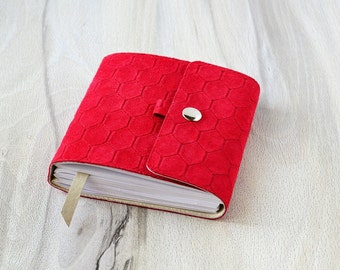 Leather notebook Small journal Red notebook Suede journal Notebook leather cover Handbound journal Password book Blank notebook Pocket book