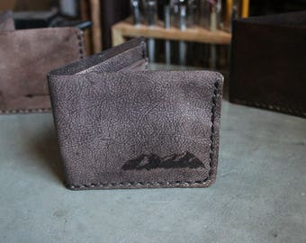 Bi-fold Leather Wallet Hand Stitched Rustic Mountain