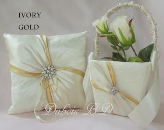 Wedding ring bearer pillow and Flower girl basket 2 pcs. set., Gold ring bearer pillow, Ivory and Gold ring pillow, Wedding pillow