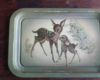 Metal Vintage Tray Roe Tray Made in England Tray Animals Tray