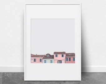 Peekaboo Houses, Downloadable Art Print, Photography Print, Colorful Houses, Colorful Wall Art, Pink Wall Art, Pink house, Pink and Grey