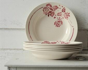 Antique French Saint Amand soup plates - set of 6
