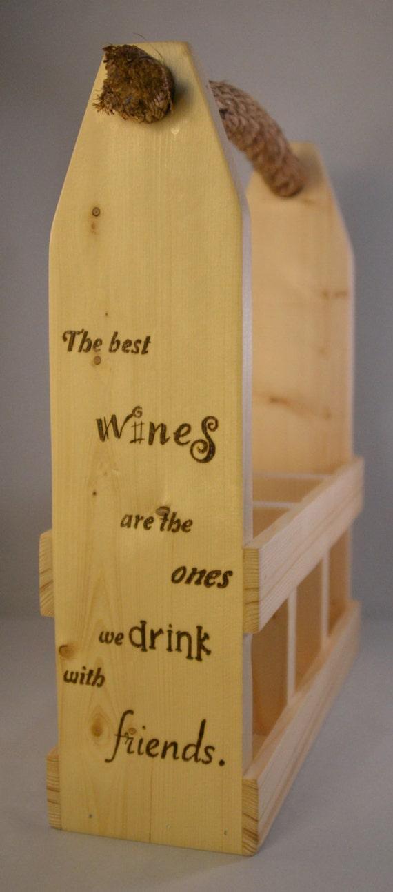 """Wine Caddy - 3 Bottle - """"Wine & Friends"""""""