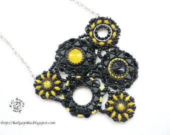 """Beaded necklace with Swarovski: """"Meteorite"""" Free shipping!!!"""