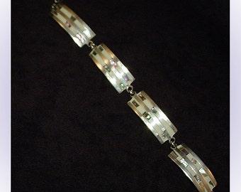 Alpaca Silver Vintage Panel Link Bracelet