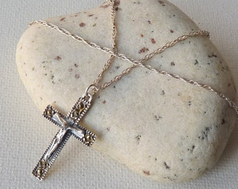 Vintage  Sterling Silver Marcasite Cross Pendant Chain Necklace, Small Sterling Marcasite Cross, Marcasite Jewelry, 925 Christian Cross