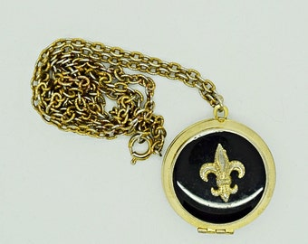 Vintage Necklace Fleur De Lis Locket Top to Bottom Locket Fashion Jewelry