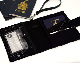 ANTI RFID | Passport holder for solo for one | couple or family passports | Travel pouch | Passport cover | RFID protection | plane grey