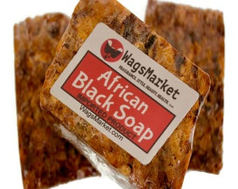 AFRICAN BLACK SOAP, 1 lb - 3 lb - 100% Natural and Handmade (Imported)