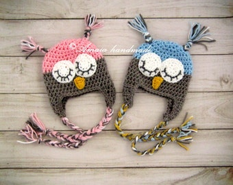 Owl hats for twins, Twin hats, Crochet twin hats for Newborn to 12 Months, Great as an Owl baby shower gift or home coming hats