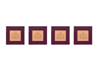 Picture Frame Set of Four - Burgundy 4x4 Frame Collage Set.