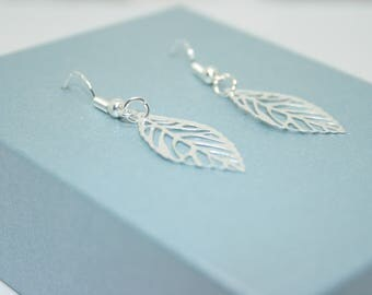 Silver Leaves Earrings, Delicate Leaf Earrings, Silver Leaf Earrings, Sterling Silver, Nature Jewellery, Gift For Her, Bridal Earrings