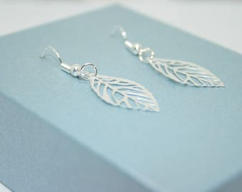 Silver Leaves Earrings, Silver Leaf Earrings, Sterling Silver Earrings, Nature Jewelry, Dangle Earrings, Gift For Her