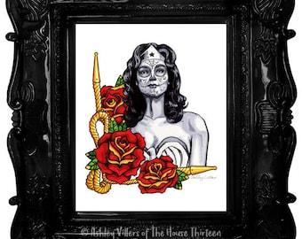Wonder Woman Dia de los Muertos Print, 8x10 Day of the Dead Reproduction, Sugar Skull, Fan Art Gift for Her, Super Hero, Lasso of Truth