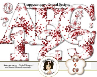 CU4CU, Christmas Alphabet, Digital Alphas, Christmas Alphas, Scrapbooking Alphas, Snowflake Alphas Commercial Use, Instant Download,