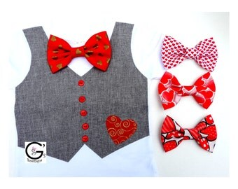 First Baby Boys Valentine's Day Outfit Boys Bow Tie Tuxedo Vest - Baby Boy Clothes - Coming Home Outfit - Wedding