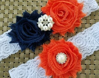 NAVY Blue and ORANGE Garters,Dark Blue garters,Dark orange Garter Set,Toss Garter,Navy blue Wedding, Orange wedding, Custom garters, Garters