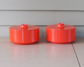 Orange Bowl w/ Finger Lid- 2 available - Heller Vignelli - 5 inch diameter - Massimo Vignelli