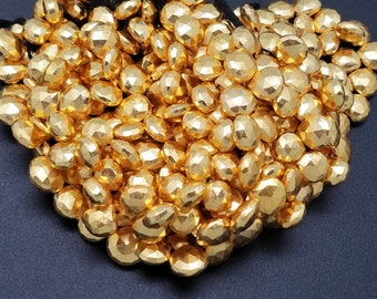 10 - 11 mm , Gold Pyrite Hearts , 7.5 Inch