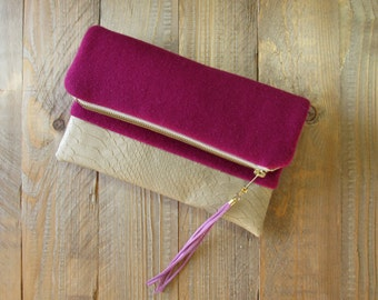 fold over clutch wool leather mix fuchsia beige wool cashmere mix vegan textured leather long tassel lined with cotton greyhound print