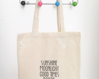 Tote bag labelled fairtrade cotton partythemes personalized prints beachbag festivalbag schoolbag wedding bachelorparty giftidea