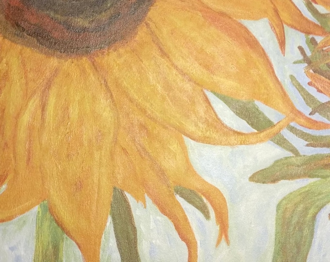 """Titled """"Maria's Sunflowers"""" Floorcloth, Painted Canvas Rug, Offered by Artist"""