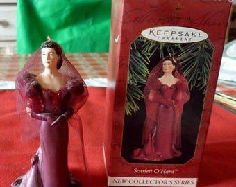 VINTAGE - Scarlett's Shame - Scarlett in Burgandy Red Dress - Hallmark Ornament