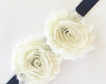 Baby headband newborn headband infant headband toddler headband girls headband adult headband navy headband flower girl headband birthday