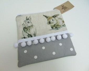 Handmade Makeup Bag, Bunny Rabbit Hare, Linen Mix Fabric, Pompom Cosmetics Case