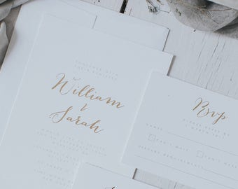 Printed Elegant and Romantic Gold Embossed Wedding Invitation Set which includes Wedding Invitation, Information Card, RSVP and Envelope.