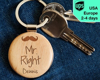 Mr. Right - key chain, personalized laser engraved wooden key chain