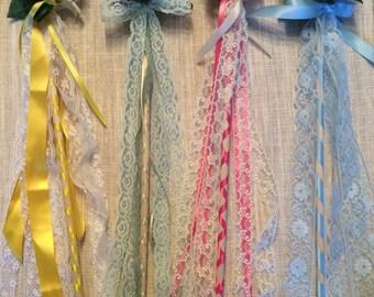 Fairy Wands, Flower Wands, Flower Girl Wands, Princess Wands, Girls Birthday Favors, Party Favors, Fairy Party, Birthday Favors