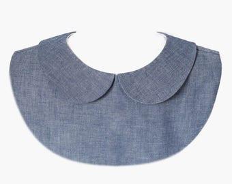 Peter Pan collar blue denim - women removable collar - fake collar