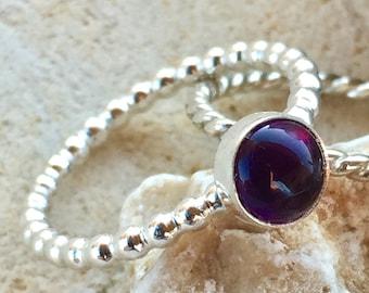 Amethyst Ring, Genuine Amethyst, Amethyst Stacking Ring, February Birthstone, Silver Amethyst