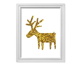 Reindeer poster   Etsy