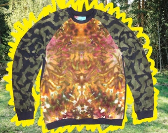 Ice Dye Psychedelic  Tie Dye Sweatshirt Tiger  Size XL