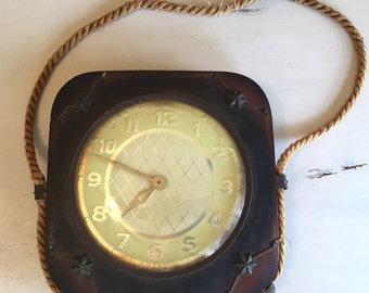 Wood Vintage Nautical Hanging Clock