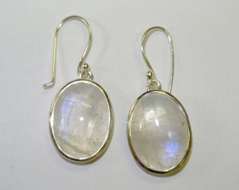 Moonstone sterling silver earrings, FREE SHIPPING