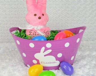 Purple Personalized Easter Bucket - Easter Gift - Personalized Gift - Easter Bunny