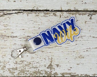 Navy Wife Keychain - Bag Tag - Small Gift - Gift for Her - Thank You Gift - Bag Accessory - Zipper Pull - Women's Gift - Gift for Mom