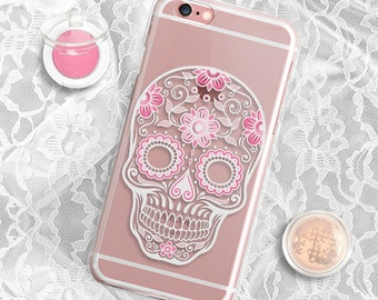 Skull iPhone 6s Case Clear Sugar Skull iPhone 6 Case Clear Rubber Sugar Skull iPhone 7 Case iPhone 6s Plus Case Rubber iPhone 7 Plus Case