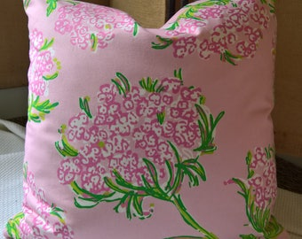 Lilly Pulitzer for Lee Jofa Racy Lacey Pink 100% Cotton Throw Pillow, Decorative Pillow