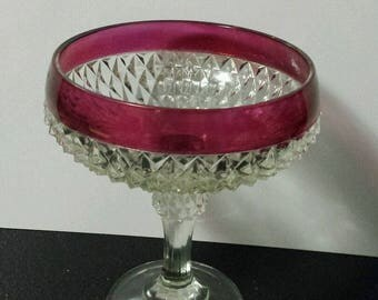"""Vintage Indiana Glass Clear with Ruby Flash Band Diamond Point 7 3/8"""" Pedestal Compote Candy Dish"""